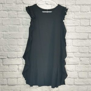 ZC Woman | Black Ruffle Side Dress
